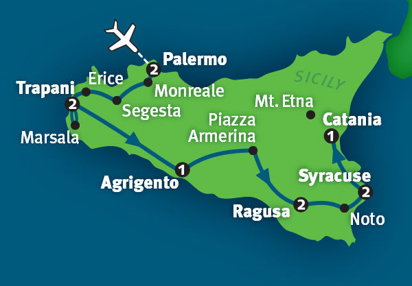 Map of our Sicily tour