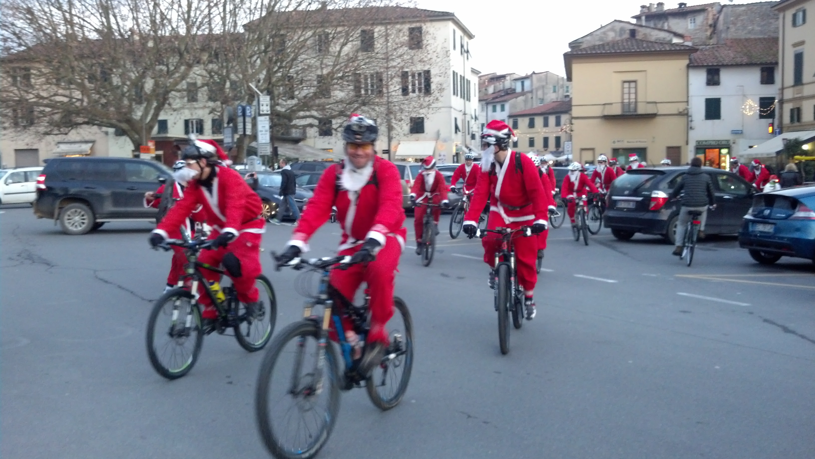 Santas on Bicycles