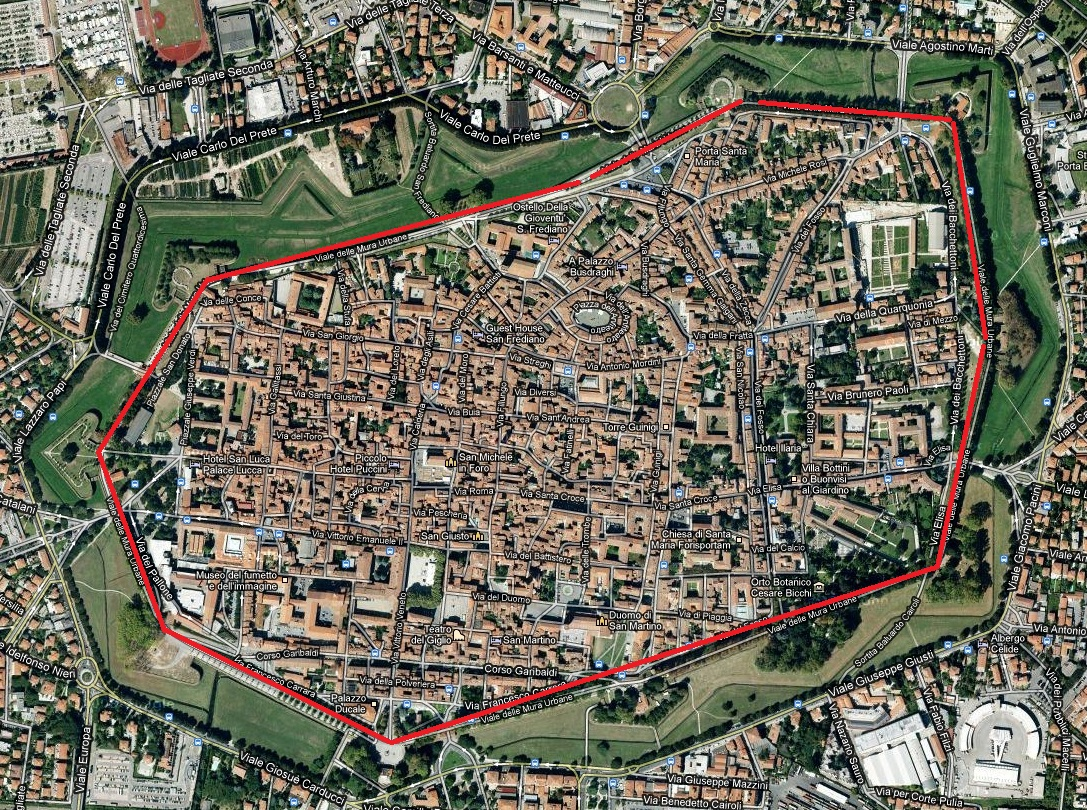 map of lucca with wall in red